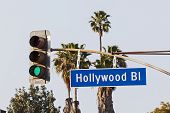 stock photo of traffic signal  - Hollywood Boulevard Sign with Palm Trees and Traffic Signal Light - JPG