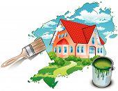 privates Wohnhaus, gezeichnet von Farben