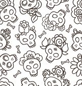 Hand-drawn Pattern With Skulls-catrinas