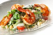 Seafood Caesar Salad with Shrimps, Salad Leaf, Croutons, Cherry Tomato and Parmesan Cheese