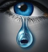 stock photo of tears  - Distress and suffering with a human eye crying a single tear drop with a screaming facial expression of anguish and pain due to grief or emotional loss or business burnout - JPG
