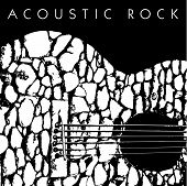 image of acoustic guitar  - A vector depiction of an acoustic guitar made of stones - JPG