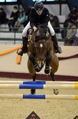 KAPOSVAR, HUNGARY - MARCH 24: Borbala Bencze jumps with her horse (Quickstep) on the Masters Tournam