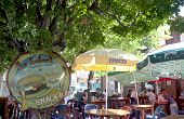 World famous bar Le Select in Gustavia Harbor at St Barths, French West Indies