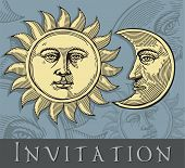Invitation card with Sun and Moon
