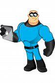 Cartoon Blue Superhero