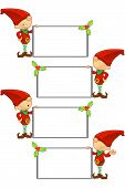stock photo of gnome  - A cute cartoon red elf with 4 different facial expressions - JPG