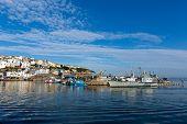 Brixham marina Devon with large boat and yachts Torbay England UK
