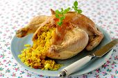 Whole Roast Chicken Stuffed With Curried Rice And Sultanas, Selective Focus