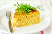 A Slice Of Zucchini And Carrot Bake With Rocket, Shallow Depth Of Field