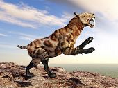 stock photo of saber tooth tiger  - Computer generated 3D illustration with the prehistoric Saber - JPG