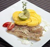 Grilled Codfish With Baked Corn Polenta