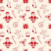 Red Christmas Seamless Background With Santa, Ball, Gingerbread, Poinsettia, Candy Stick, Sock And B