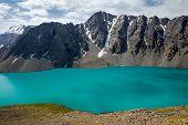 Amazing alpine lake Ala-Kul, Kyrgyzstan