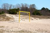 Football Gate On A Sand Beach