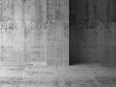 Empty Dark Abstract Concrete Room Interior Fragment. 3D Illustration