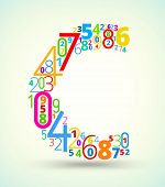 Letter C, colored vector font from numbers