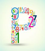 Letter P, colored vector font from numbers