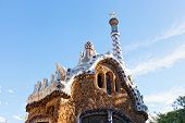 stock photo of gaudi barcelona  - Views from the Parc Guell designed by Antoni Gaudi Barcelona Spain - JPG