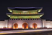 image of seoul south korea  - Gwanghwamun Gate is the main gate of  Gyeongbokgung Palace in Seoul - JPG