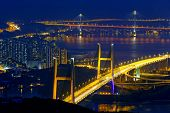 image of hong kong bridge  - tsing ma bridge at night - JPG