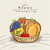 Happy Thanksgiving celebration concept with wooden basket full of fruits and vegetables on grey background, can be use as flyer, banner or poster.