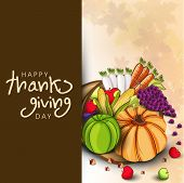 Happy Thanksgiving Day concept with fruits and vegetables, greeting card or gift card.