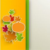 Happy Thanksgiving Day greeting card, or invitation card with maple leaves and pumpkins.
