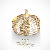 Floral decorated shiny pumpkin on grey background, for Happy Thanksgiving Day celebration background.