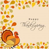 Happy Thanksgiving Day concept with turkey bird on colorful autumn leaves decorated background, can be use as flyer, banner or poster.