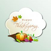 Happy Thanksgiving Day concept with fruits, vegetables, cone shape wooden basket, maple leaves and space for your wishes on green background.