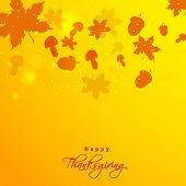 Happy Thanksgiving Day celebration concept with maple leaves and mushrooms on shiny yellow background, can be use as flyer, banner or poster.