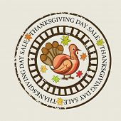 Happy Thanksgiving Day rubber stamp with turkey bird and autumn leaves on grey background.