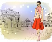 Elegant Fashion girl in Paris