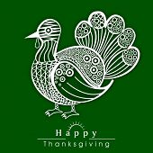 Happy Thanksgiving Day celebration poster, flyer and banner with floral decorated turkey bird on green background.