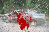 picture of blood drive  - Two cars in a horrible car crash on the road with broken bloody windshield viewed from an inside of a car - JPG