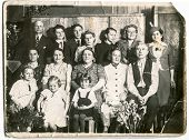 LODZ,POLAND, CIRCA FIFTIES -  unidentified big multigenerational family members posing together - in