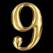 Golden shining metallic 3D symbol number nine 9  isolated on black