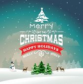 Christmas vector background in retro style