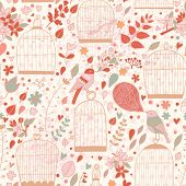 Vintage seamless pattern with cages and birds in pink colors. Cute autumn texture with elegant birdc