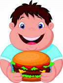 Fat boy cartoon smiling and ready to eat a big hamburger