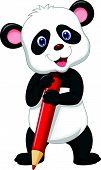 Cute panda bear cartoon holding red pencil
