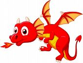 picture of dragon head  - Vector illustration of Cute dragon cartoon isolated on white background - JPG