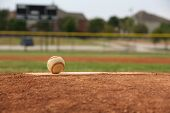stock photo of pitcher  - Baseball on the Pitchers Mound Close Up with room for copy - JPG
