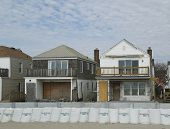 Damaged beach houses in devastated area one year after Hurricane Sandy
