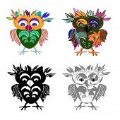Set of Cute Owl (on a white background), cartoon drawing, cute illustration for children, vector ill