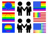stock photo of gay symbol  - Symbols and flags of homosexual culture - JPG