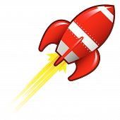 foto of missles  - Stylized vector illustration of a retro rocket ship space vehicle blasting off into the sky - JPG