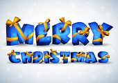Blue inscription Merry Christmas