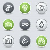 Travel web icons set 5, circle buttons